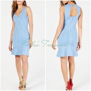 GUESS Flounce Hem Bodycon Dress Light Blue Medium
